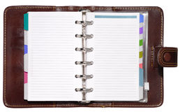 Leather Organizer. Leather notepad with clipping path isolated on white background Stock Photo