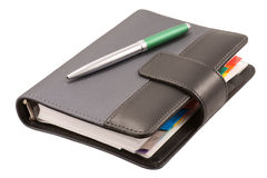 Leather organizer and pen Royalty Free Stock Photography