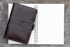 Leather organizer and spiral notebook Stock Photography