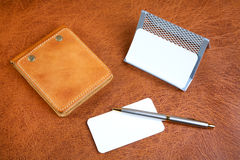 Leather organizers and  pen Royalty Free Stock Photo