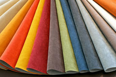 Leather palette. Color palette sample picker of leather material Stock Photography