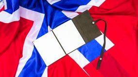 Leather note on Norvegian Flag. Leather paper note on Norvegian Flag Royalty Free Stock Photo