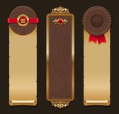 Leather and paper vintage banners. Set of vertical leather and paper vintage banners stock illustration