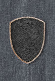 Leather patch on denim Royalty Free Stock Photo