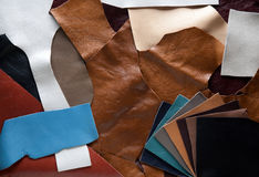 Leather patches of different color Royalty Free Stock Images