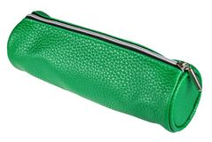 Leather pen case isolated on white royalty free stock images