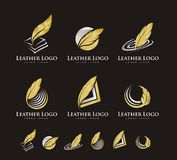 LEATHER PEN LOGO VECTOR Stock Image