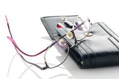 Leather pencil case and glasses Royalty Free Stock Photo
