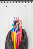 Leather pencil case with pencils. Stock Images