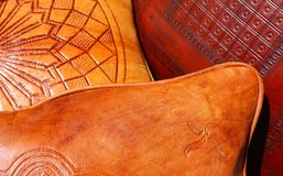 Leather pillows Royalty Free Stock Photography