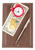 Leather daily planner with cash and alarm clock Royalty Free Stock Image