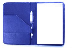 Leather planner with pen Royalty Free Stock Images