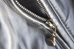 Leather pocket. Close-up of a leather jacket with zipper stock photography