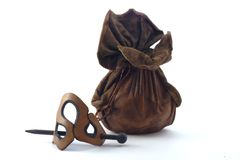Leather pouch and barrette. Two leather accessory objects: hairpin and purse Stock Photos