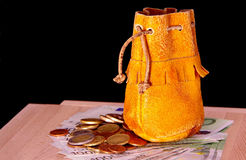 Leather pouch, euro coins and one hundred euro banknotes. Stock Photography