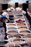 Leather Production. In Madina, Fes, Morocco Royalty Free Stock Photography