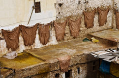 Leather production. In Fes, Morocco Royalty Free Stock Photos