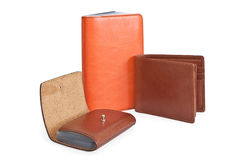 Leather Products. A set of leather products shot on white Royalty Free Stock Photography