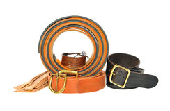 Leather products. The material of the belts. Stock Photo