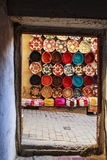 Leather Products in Medina of Fez, Morocco stock photos