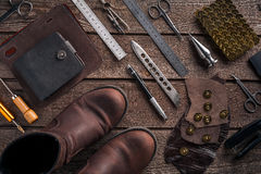 Leather products. Work place craftsman in a workshop. Top view Royalty Free Stock Photography