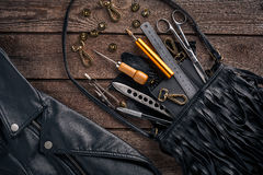 Leather products. Work place craftsman in a workshop. Top view Stock Image