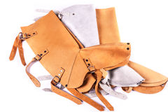 Leather protection for lower leg. Leather leg protection for welding Stock Images