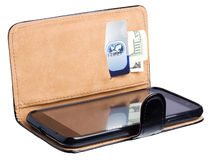 Leather purse with banknote, credit card and phone Royalty Free Stock Images