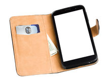Leather purse with banknote, credit card and phone Royalty Free Stock Photos
