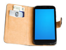 Leather purse with banknote, credit card and phone Stock Photography