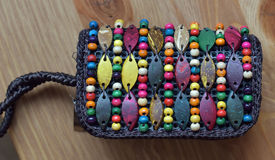 Leather purse with beads Stock Photos