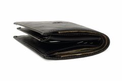Leather Purse with Cash. Black leather purse with cash on a white background Royalty Free Stock Images