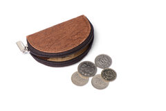 Leather purse with coins. Isolated on white Royalty Free Stock Image