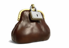 Leather Purse for Coins with Lock. Brown leather purse for coins with lock - Financial concept. 3D illustration Stock Image