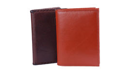 Leather purse and cover. On a white background Royalty Free Stock Photography