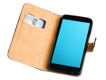 Leather purse with credit card and phone Royalty Free Stock Images