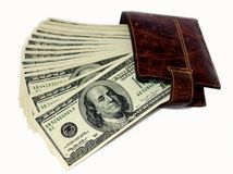 Leather purse and dollars usa Stock Images