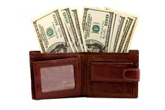Leather purse full of money Royalty Free Stock Photography