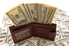 Leather purse full of money Stock Photography
