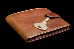 Leather purse with key Stock Image