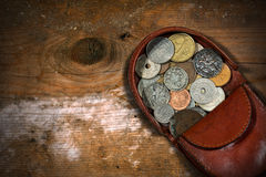 Leather Purse with Old Coins Stock Photo