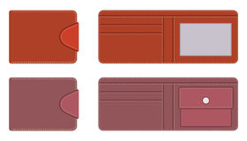Leather purse in open and closed form with pockets for documents and credit cards, with contrasting lines along the contour on the Royalty Free Stock Photo