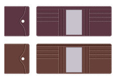 Leather purse in open and closed form with pockets for documents and credit cards, with contrasting lines along the contour on the Royalty Free Stock Photos
