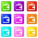 Leather purse set 9. Leather purse icons of 9 color set  vector illustration Royalty Free Stock Photos