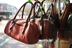 Leather purse on stall. Different purses on stall for sale Royalty Free Stock Images