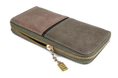 Leather purse on white Royalty Free Stock Photo