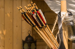 A leather quiver with arrows in it. Stock Photos