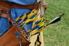 Leather quiver with  colored arrows Royalty Free Stock Photography