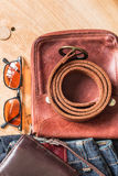 Leather ready to travel. Stock Images