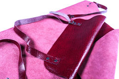Leather red apron. Red leather apron for welder protection Royalty Free Stock Photography